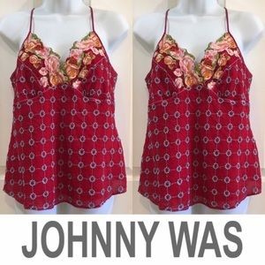 Johnny Was spaghetti strap cami large embroidered